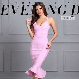 Bandage V-Neck Midi Mermaid Dress in Lilac Pink